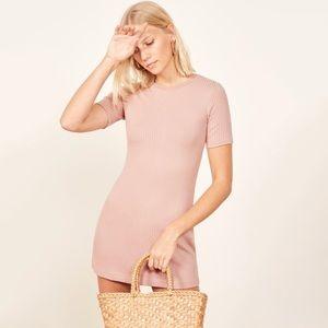 NWT Reformation Gigi Tencel Ribbed Mini Dress Pink